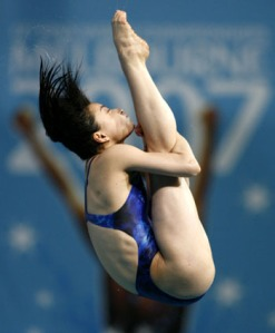 Guo Jingjing of China competes in the 3-metre springboard diving final at the World Aquatics Championships in Melbourne