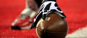 ARLINGTON, TX - JANUARY 12:  Wilson footballs are seen on the field before the College Football Playoff National Championship Game at AT&T Stadium on January 12, 2015 in Arlington, Texas.  (Photo by Jamie Squire/Getty Images)