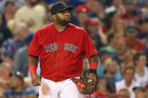 BOSTON, MA - JUNE 12: Pablo Sandoval #48 of the Boston Red Sox reacts after he made an error which allowed a run to score in the seventh inning against the Toronto Blue Jays at Fenway Park on June 12, 2015 in Boston, Massachusetts.  (Photo by Jim Rogash/Getty Images)
