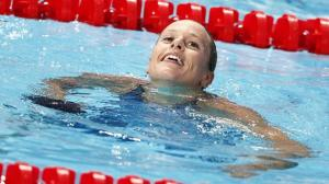 epa04873054 Federica Pellegrini of Italy celebrates after the Women's 200m Freestyle final during the FINA Swimming World Championships at Kazan arena in Kazan, Russia, 5 August 2015.  EPA/VALDRIN XHEMAJ